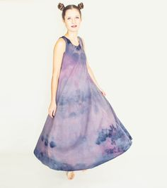 Purple Tie dye Organic Cotton Maxi Dress! Hand Made and One of a Kind! Tent Style