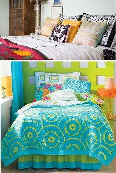 eclectic design idea for bedroom...only the top bedroom...hate the bottom design