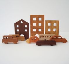 City Toy Set Waldorf Wooden Miniature 9 Pieces Buildings Cars. $55.00, via Etsy.