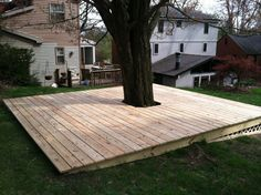 Lattice to keep stuff from going under the deck. Lattice to keep stuff from going under the deck. Deck Around Trees, Tree Deck, Backyard Seating, Backyard Patio, Outdoor Areas, Outdoor Rooms, The Longest Yard, Fish Pool, Floating Deck