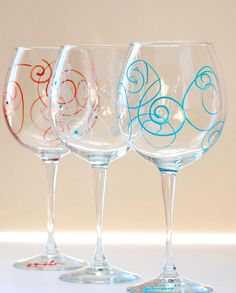 3 Hand-Painted Wine Glasses SPIRALS - Bridesmaid, Anniversary, Christmas Gift (3 pc.). $21.00, via Etsy.