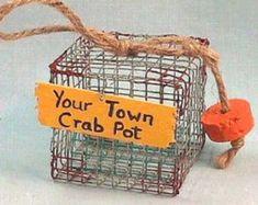 Chesapeake Bay Blue Crab Pot Ornament by CrabsGaloreAndMore Nautical Christmas, Christmas Crafts, Christmas Tree, Christmas Ornament, Crab Decor, Gifts For Wine Lovers, Chesapeake Bay, Ocean Art, Beach House Decor