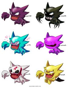 Pokemon Variations: Haunter (by myiudraws on tumblr) (I would seriously want the Killer variation)