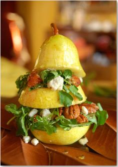 pear salad - what an incredible presentation! (wouldn't that be cute for a bridal shower or a tea or luncheon?)