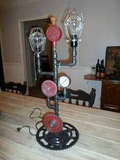 vintage machine age industrial table lamp one of a kind