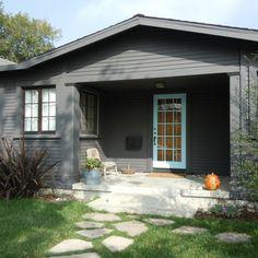 Walk Around the Hood - modern - exterior - los angeles - Natalie Myers Black House Exterior, Grey Exterior, Modern Farmhouse Exterior, Exterior House Colors, Exterior Design, Exterior Paint, Grey Siding, Bungalow Exterior, Cedar Siding