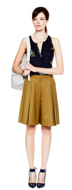 Pre-game for Autumn with a pair of slouchy Bermuda shorts in a camel hue.