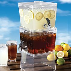 Let the Creative Bath stackable beverage dispenser take all the trouble out of pouring drinks. Carefree entertaining indoor and out. Wide mouth lid - easy to fill with your favorite beverage. Two gal. capacity reservoirs stacked one on top of the othe Sangria, Norfolk, Party Drinks, Tea Party, Brunch Party, Cocktails, Fun Drinks, Cocktail Recipes, Soda Italiana