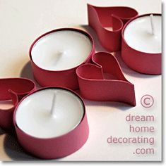 Valentine tealight crafts from paper strips Crafts To Do, Home Crafts, Crafts For Kids, Valentine Day Crafts, Valentines, Cardboard Tube Crafts, Toilet Paper Roll Art, Tea Candles, Light Crafts