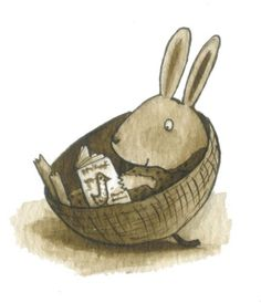 Martha Lightfoot Illustration - martha lightfoot, pen, ink, black and white line, black line, black and white, fiction, digital, sepia, watercolour, rabbits, sitting, relaxing, reading, bunnies, bunny, animals