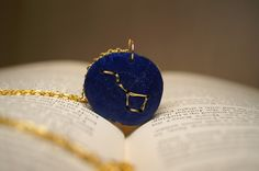 Big Dipper Embroidered Wooden Pendant by SticksAndTomes $15.00 @TheCraftStar #handmade #pendant #necklace #constellation #bigdipper #stars #metallic #blue #gold #astronomy #embroidered #wood