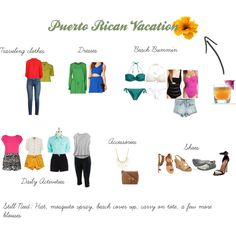 """Packing for Puerto Rico Vacation"" by curryandmango on Polyvore"