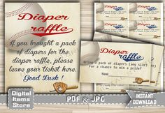 Printable Diaper Raffle Baseball - Baby Shower Diaper Raffle Baseball Vintage - Diaper Raffle Ticket, Sign, Digital - Instant Download - bb2 by DigitalitemsShop on Etsy