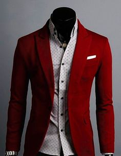 Men's red jacket.