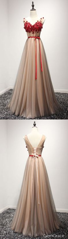 floral long tulle prom dress with sash