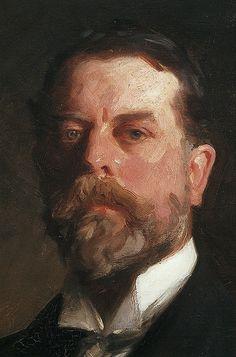 John Singer Sargent- Self Portrait 約翰,辛格,金沙(1856-1925)生於佛陀羅倫斯,1876年後到美國。為肖像畫家,畫風受西班牙大師威拉茲蓋茨的影響。後期風格類似莫內。