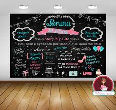 Painel Chalkboard 15 Anos -  arte digital, festa 15 anos, casamento, decoração de festa
