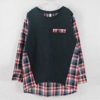 Casual Checked Color Matching Long Sleeve T-Shirt For Women