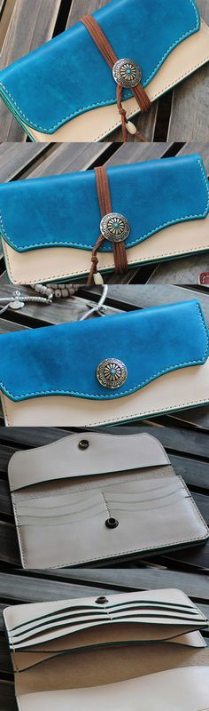 Handmade custom vintage purse leather wallet long phone wallet
