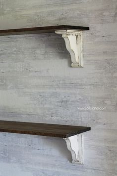 DIY farmhouse shelves! So easy to make your own from unfinished wood. Just add paint and stain! Lots of pretty farmhouse decor ideas!
