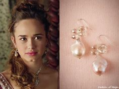 """In the episode (""""Wedlock"""") of Reign, Princess Claude wears these sold out Mela Jewelry Jacopa Pearl Earrings. Reign Fashion, All Fashion, Fashion Jewelry, Jewelry Party, Costume Jewelry, Reign Tv Show, Rose Williams, Tv Show Outfits, Crown Jewels"""