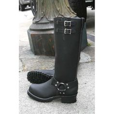 """Wesco 16"""" Black Leather Harness Boots 2-Buckle BK7716HLL100 D-H2 - Stompers Boots"""