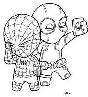 Deadpool Spiderman Coloring Pages for kids to print out.superhero pages to color Black panther Spiderman Deadpool for kids printable. superhero marvel coloring in pages to print Deadpool Chibi, Deadpool Kawaii, Chibi Spiderman, Deadpool Y Spiderman, Baby Spiderman, Baby Marvel, Spiderman Drawing, Marvel Avengers, Deadpool Tattoo