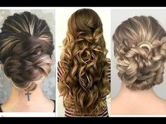Tres peinados de fiesta para ocasiones especiales 2017 | dos recogidos y pelo rizado suelto - YouTube