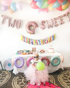 Two sweet birthday party 2 Year Old Birthday Party Girl, Donut Birthday Parties, Second Birthday Ideas, Girls Birthday Party Themes, Donut Party, Grown Up Parties, Alice, First Birthdays, Diy