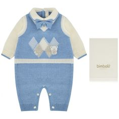 Bimbalo Baby Boys Blue Wool Knitted Romper - All Designers