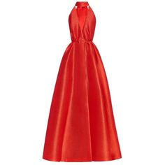 Emilia Wickstead Carla cut-out maxi dress (£2,660) ❤ liked on Polyvore featuring dresses, gowns, long dress, red, red dress, red silk dress, long red dress, evening maxi dresses and cut out maxi dress