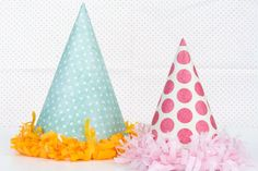 Party hats made of scrapbooking paper