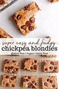 Blondies Healthy Chickpea Blondies with chunks of chocolate in every bite. This easy and healthy recipe is vegan and gluten-free, can be made with almond flour or oat flour, and is packed with protein. Can easily be made nut free, too! Vegan Dessert Recipes, Gluten Free Desserts, Gluten Free Baking, Vegan Gluten Free, Baking Recipes, Whole Food Recipes, Whole Food Desserts, Dairy Free, Apple Recipes
