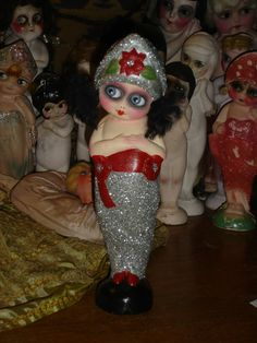 Upcycled Chalkware Flapper Carnival Kewpie Doll Silver Glitter via Etsy