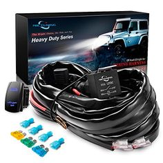 MICTUNING HD+ 12 Gauge 600W LED Light Bar Wiring Harness Kit w/ 40Amp Relay, 3 Free Fuse, Rocker Switch Blue(2 Lead) #MICTUNING #Gauge #Light #Wiring #Harness #Relay, #Free #Fuse, #Rocker #Switch #Blue( #Lead)