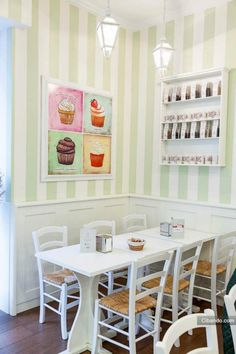 Simple and cozy. I like the striped walls and the cupcake pictures