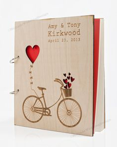 Love Bike Wedding Guest Book or Bridal Shower Advice Book. $55,00, via Etsy.