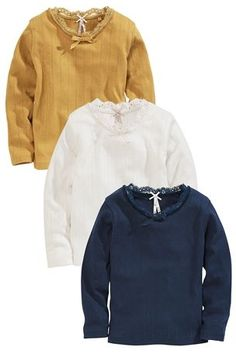 Buy Ochre, Ecru And Navy Pointelle Tops Three Pack (3mths-6yrs) from the Next UK online shop
