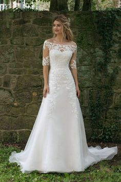 Wedding Dress 44058 by Sincerity Bridal - Search our photo gallery for pictures of wedding dresses by Sincerity Bridal. Find the perfect dress with recent Sincerity Bridal photos. Sincerity Bridal Wedding Dresses, Modest Wedding, Dream Wedding Dresses, Wedding Dress Styles, Bridal Dresses, Wedding Gowns, Bridesmaid Dresses, Fall Wedding, Vintage Wedding Dresses