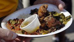 Chicken Livers with Collard Greens: New Orleans Jazz Fest food