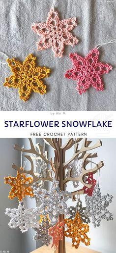 Free Crochet Snowflake Patterns, Crochet Stars, Christmas Crochet Patterns, Holiday Crochet, Crochet Snowflakes, Thread Crochet, Crochet Gifts, Crochet Roses, Crochet Angels
