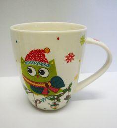 SALE 10 % off !!!  Tasse / Kaffeebecher Eule / Weihnachten  Porzellan