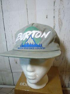 Vtg Burton Starter Snowboarding Ski Snapback Hat Cap Watch Your Back Country…