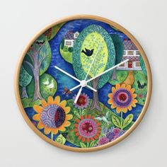 Summer Calling Wall Clock by Janet Broxon. Worldwide shipping available at Society6.com. Just one of millions of high quality products available.