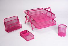 Shop for Exerz Premium Mesh Office Set Of 4 Pcs - 2 Tier Letter Tray/filing/paper Tray, Letter Rack, Pen Pot, Clips & Memo Pad Holder Pink). Starting from Choose from the 3 best options & compare live & historic home furniture and decor prices. Letter Rack, Letter Holder, Home Furniture, Outdoor Furniture, Paper Tray, Office Set, Outdoor Chairs, Outdoor Decor, Pen Holders
