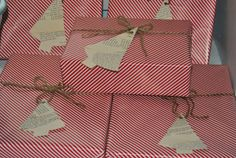 red and white striped paper, jute, book page Christmas tree tags
