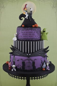 "24 Completely Bewitching Tim Burton Inspired Wedding Ideas ""With this hand, I will lift your sorrows. Your cup will never empty, for I will be your wine. With this candle, I will light your way in darkness. With this ring, I ask you to be mine. Halloween Wedding Cakes, Christmas Wedding Cakes, Halloween Cakes, Holiday Cakes, Wedding Cake Prices, Purple Wedding Cakes, Wedding Cupcakes, Wedding Colors, Tim Burton"