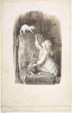 Lorenz Frølich  (Danish, Copenhagen 1820–1908 Hellerup). Child Climbing a Chair to Reach for a Kitten, 1835–1903. The Metropolitan Museum of Art, New York. Gift of Lincoln Kirstein, 1966 (66.576.10(6)) #cats