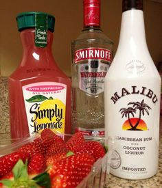Mixed with watermelon Smirnoff vodka, Cocunut Malibu, simply rasberry lemonade fresh strawberries. by kristie
