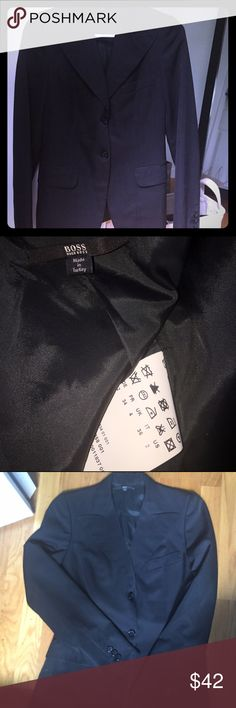 Authentic Hugo Boss Woman's Blazer-Never Worn! This is an all Black, Size 2, Sleek & Classic, Woman's Blazer by Hugo Boss. This was a Gift & never worn. The Inside is Fully Lined & Has a Small Pocket Which is Still Seen Shut w/the Original Stitching. Outside has a Flap Pocket on Either Side as well as 1 Small Slit Pocket up top. Hugo Boss is Known for Quality, Timeless, Tradition yet Still Stylish Style! This is a Major Score!! & dont forget...I love offers! Hugo Boss Jackets & Coats Blazers